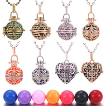 High Quality Mexico Chime Music Ball Locket Necklace Vintage Pregnancy Necklace for Aromatherapy Essential Oil Pregnant Women mexico chime music bell angel ball caller locket necklace flower pregnancy necklace perfume aromatherapy essential oil necklace