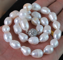 """11-13MM Genuine Natural white akoya cultured pearl necklace Magnet Clasp 17"""" Factory Wholesale price Women Gift word Jewelry"""