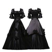 Готический Ренессанс викторианской платье черного цвета в стиле панк Для женщин Хеллоуин костюм