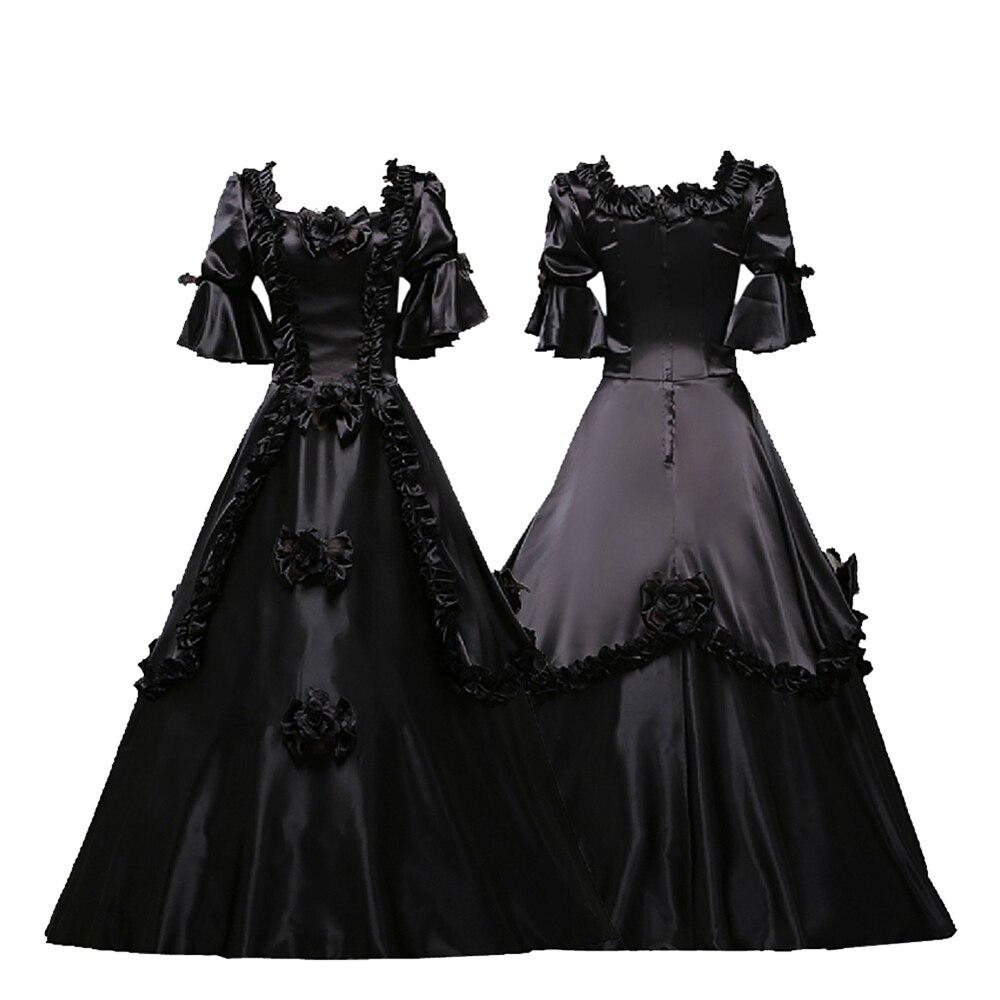 Gothic Renaissance Gown Victorian Dress Black Punk Women Halloween Costume mejores fotos hechas en photoshop