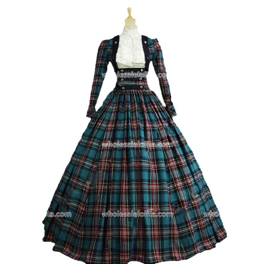 Plaid Long Victorian Civil War 3 pc font b Tartan b font Period Dress