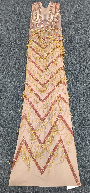 Cristaux scintillants grande robe Stretch tenue de soirée pour femme strass complet robe à pompon bal anniversaire célébrer tenue - 5