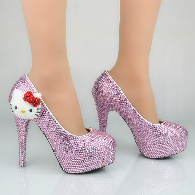 ФОТО 2017 Pink Rhinestone Wedding Shoes lovely Kitten High Heels Decoration Plus Size Bridal Dress Shoes Nightclub Party Prom Pumps