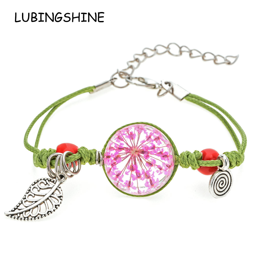 Romantic Glass Cabochon Lucky Dried Flower Bracelets Handmade Weave Leaf Charms Chain Bracelet for Women Girl Child Jewelry