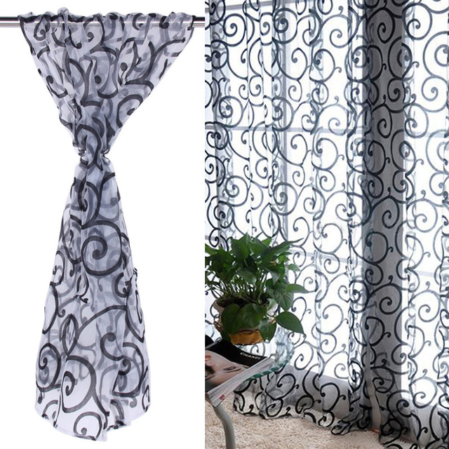1 Pcs Curtain Solid Sweet Floral Tulle Voile Organza Curtains Rideau