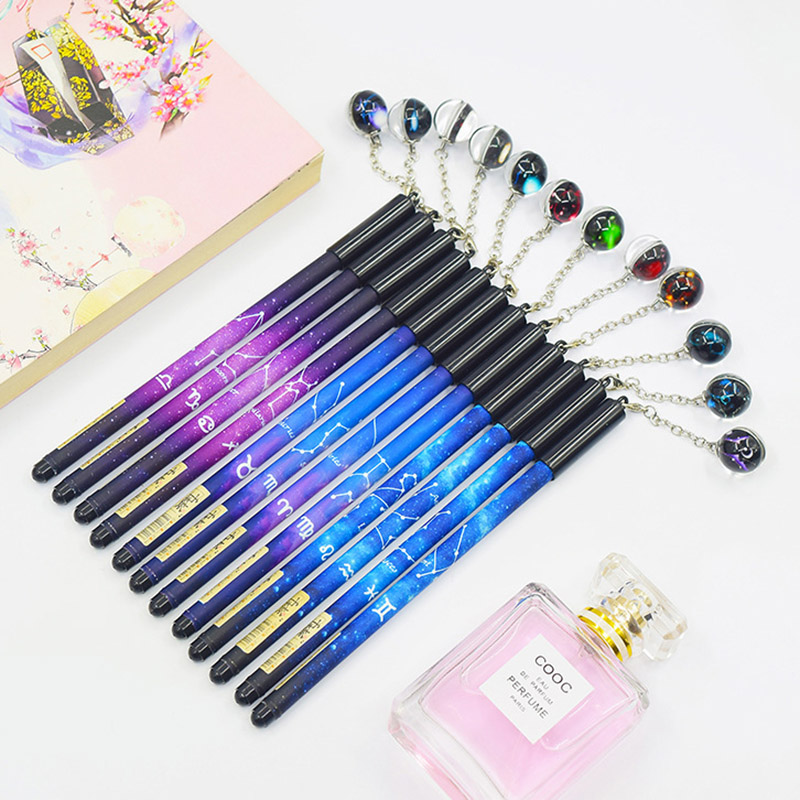 0 5mm Creative Luminous Gel Pen Twelve Constellations Neutral Pens For Writing Girls Gifts School Supplies Novelty Stationery in Gel Pens from Office School Supplies