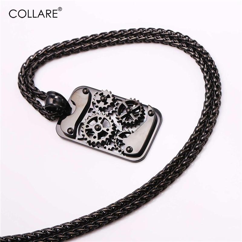 Collare Steampunk ogrlica za moške zlato / črno barvo iz nerjavečega jekla mehanski nakit Vintage Gear Machine Retro punk obesek P907