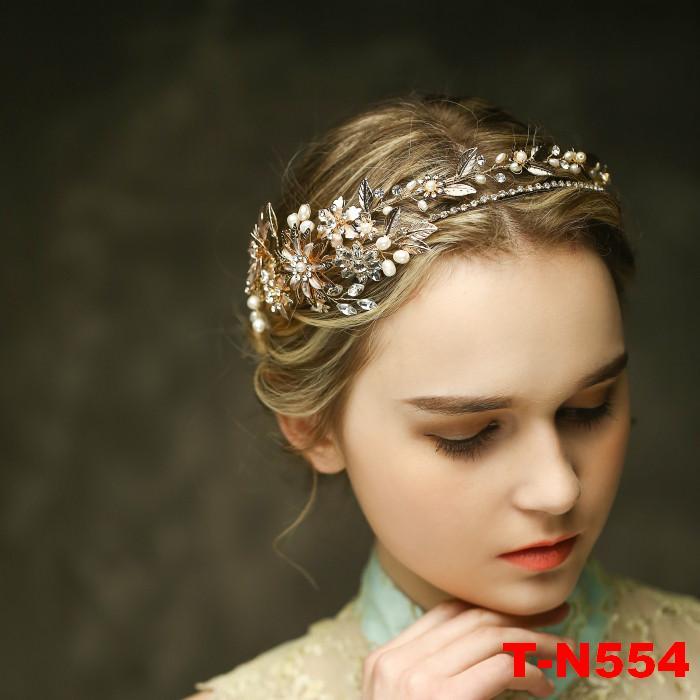 2017 Handmade Vintage Gold Color Leaf Flower Tiaras Wedding Crown Pearl Crystal Hair Jewelry Vintage Bridal Headband Accessories