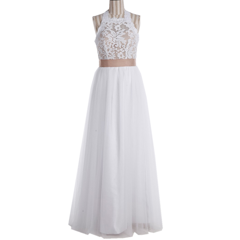 Elegant Lace Halter Top Open Back Boho Wedding Dresses 2017 Lace ...