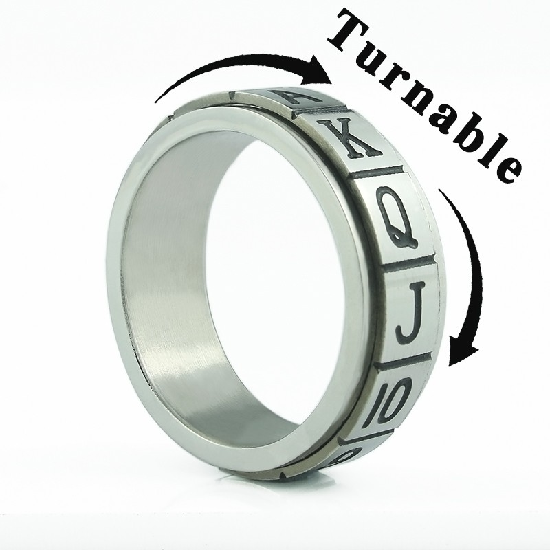 Free Shipping 2017 New V38 Accessories Stainless Steel Double Layer Titanium Ring Finger Ring Poker Men Jewelr