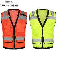 Yuanmingshiサイクリング視認性の高いセキュリティ安全ベストジャケット反射ストリップワークウェアユニフォーム反射布ベス
