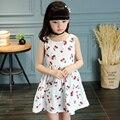 2016 Baby Girl Verão Vestido Novo Padrão de Flor de Cerejeira de Rotina mangas do Vestido Da Menina Para Crianças Traje Casual Navy Branco Livre navio