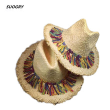 Free shipping 2016 new lafite straw hats in summer Tide female lei panama sun hat Bonnet outdoor beach wholesale
