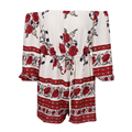 red Printed strapless Word collar Siamese Culottes White Jumpsuit