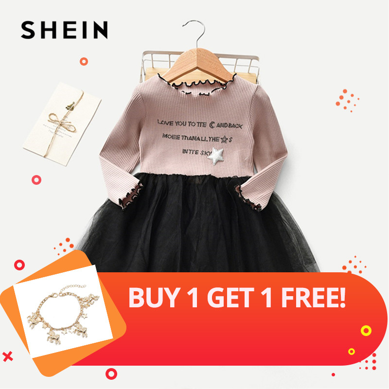 SHEIN Toddler Girls Letter Print Frill And Contrast Mesh Detail Dress Girls Clothing 2019 Fashion Long Sleeve A Line Girls Dress retro style v neck long sleeve ethnic print self tie belt dress for women