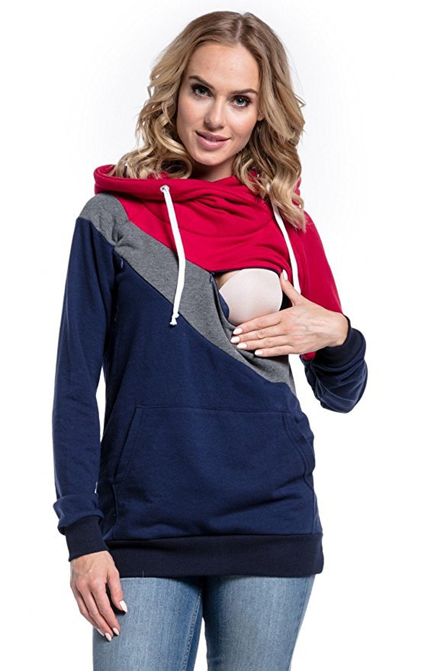 Winter Clothes Nursing Maternity Hoodies for Pregnant Women Breastfeeding Pregnancy Hooded Top Maternity Lactation Sweater