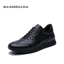 BASSIRIANA 2019 new mens casual sneakers genuine leather spring autumn lacing black Free shipping
