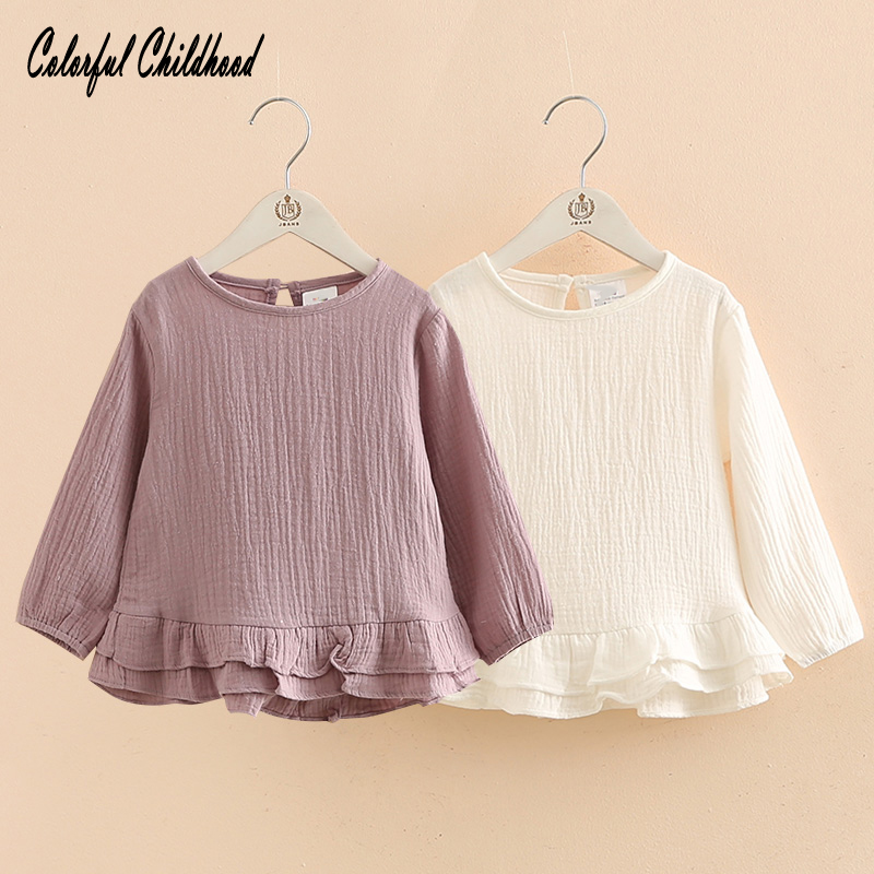 2018 Spring New Baby Girls blouse Cute O-neck breathable shirt for girls Long Sleeve kids Blouse toddler Tops Autumn petal sleeve self tie blouse