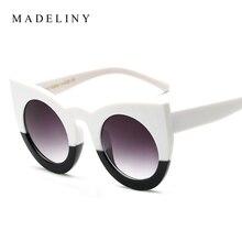 Classic Fashion Sunglasses Women Cat Eye Thick Frame Sun glasses Round Frame Eyewear Coating Mirror Vintage Sun glasses F120