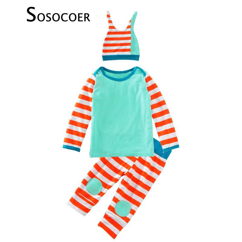 SOSOCOER Baby Girl Clothing Sets 3pcs Stripe T Shirt+Pants+Hat Cap Kids Baby Clothes Autumn Winter Cute Boys Girls Clothing Set