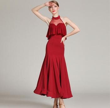 2018 new Ballroom Dancing Dress sleeveless Woman Modern Waltz Tango Dance Dress standard Ballroom Competition Costume 1857