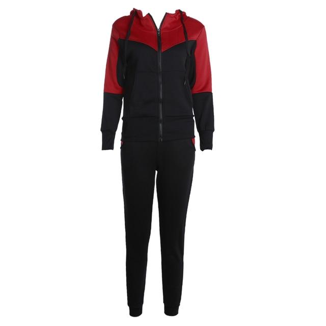 Women 2pcs Tracksuit Patchwork Hoodies Casual Suits Zipper Sweatshirt Pants Set Wear Suit 2017 Lady Popular Sportswear
