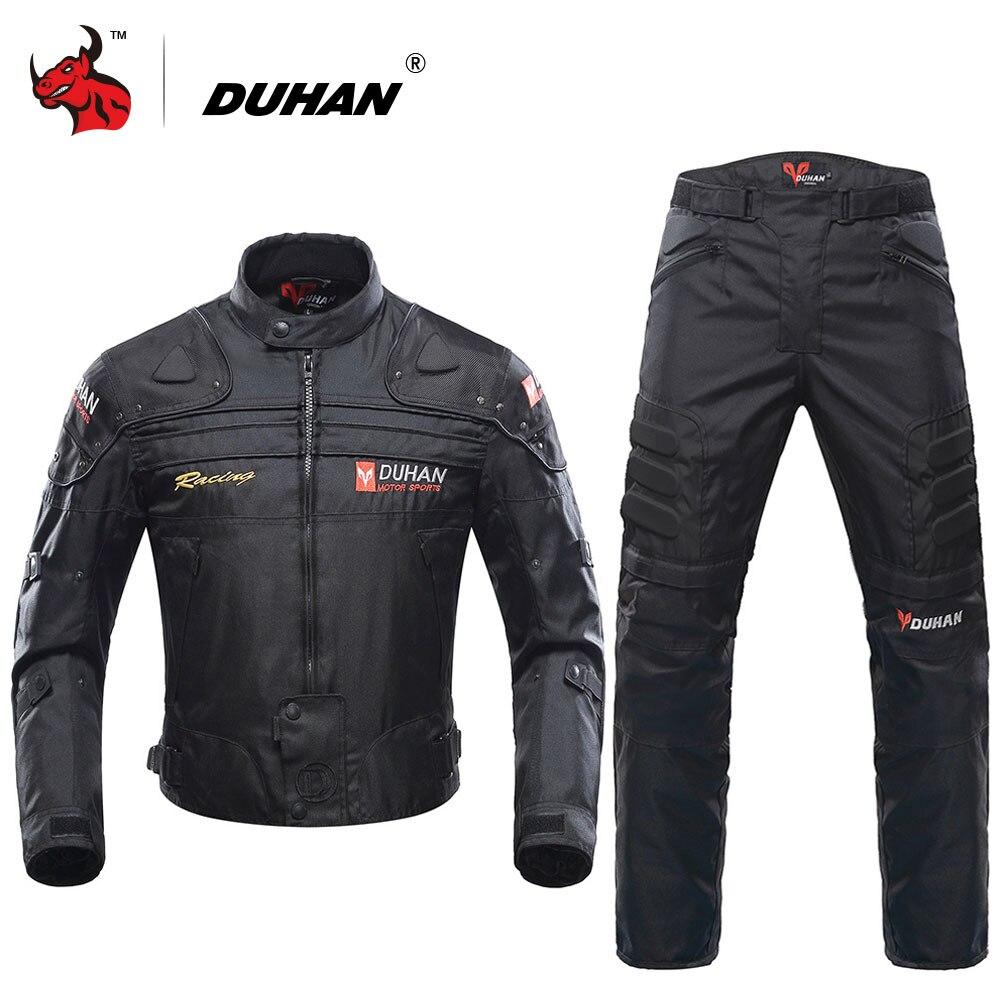 DUHAN Motorcycle Jacket Protective Gear Blouson Moto Men Motocross Off-Road Racing Jacket Body Armor+ Riding Pants Clothing Set