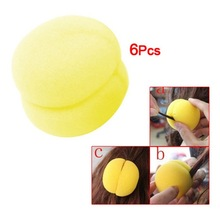 High Quality 6 Pcs Yellow Sponge Ball Hair Styler Curler Roller Tool for Lady