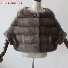 2017 luxury natural mink fur coat fur garment bat shirt lady short winter fashion warm fur coat cross stripe EMS Free Shipping