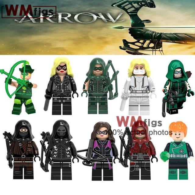 אחת Legoings ירוק חץ DC קומיקס שחור לבן הקנריים סופר גיבורי פרומתאוס כהה ארצ 'ר אבני בניין צעצועי ילדים מתנות