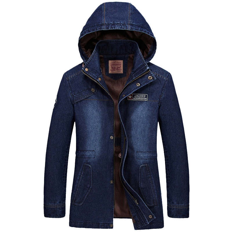 Brand Men's Denim Jacket Designer Fahion Hood Stand Collar Plus Size Long Casual Jacket Coat Men Outwear Pull Homme 3XL B16F685