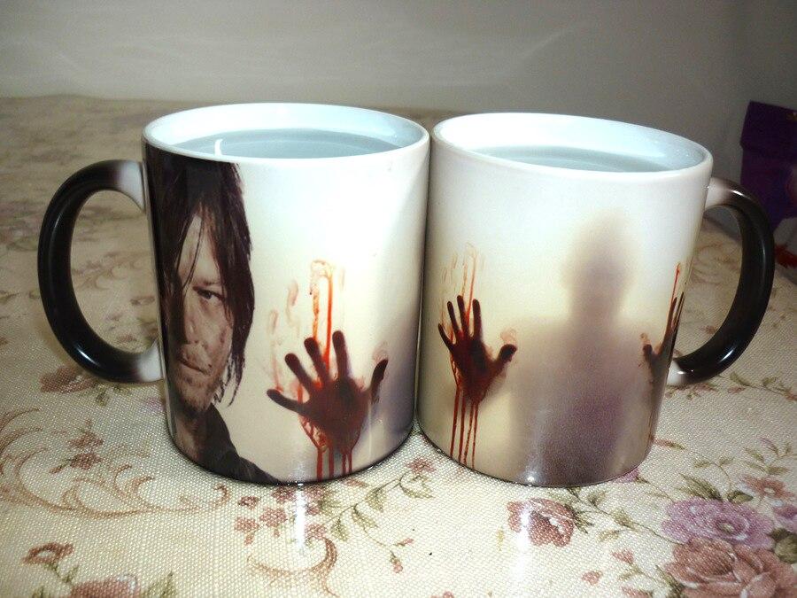 Прямая доставка! Ходячие мертвецы Кружки Кофе Чай молочного цвета Изменение Керамика чашку ...