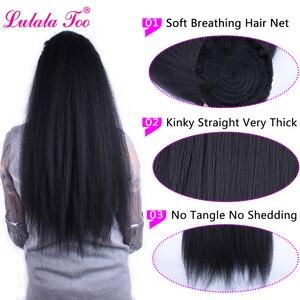 Image 3 - Синтетический длинный хвост 22 дюйма, кудрявый прямой искусственный конский хвост, парик для женщин, наращивание волос на заколках