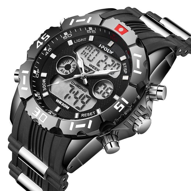 HPOLW Brand Men Sports Watches Fashion Chronos Rubber Men's Waterproof LED Digital Watch Man Military Clock Relogio Masculino hpolw mens серебро