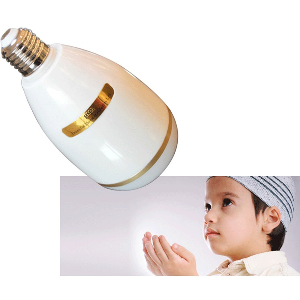 Wireless Bluetooth RGB LED Light Bulb Quran Speaker Remote APP Control Touch Lamp Muslim FM TF Audio Music Player 25 Languages (7)