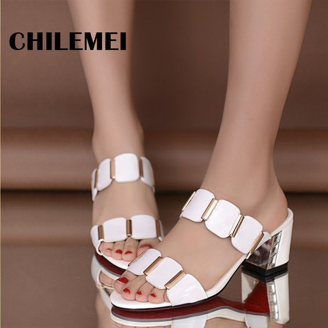 431e1f0cb846 Rhinestone sandals slippers 2017 summer fish head diamond sandals thick  with female sandals high heels sandals women