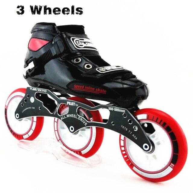 Profesional Racing Speed Skate mujeres hombres grandes 3 ruedas patines en  línea 110mm rodillo patinaje en a4157feb259