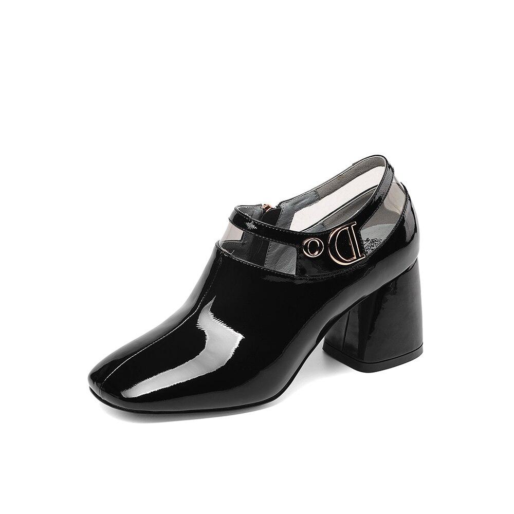 LEEPO Sapatos Feitos de Couro Genuíno das Mulheres do Sexo Feminino Sapatos de Salto Alto Primavera Saltos Sapatas Das Senhoras Do Dedo Do Pé Quadrado Branco com saltos grossos - 3