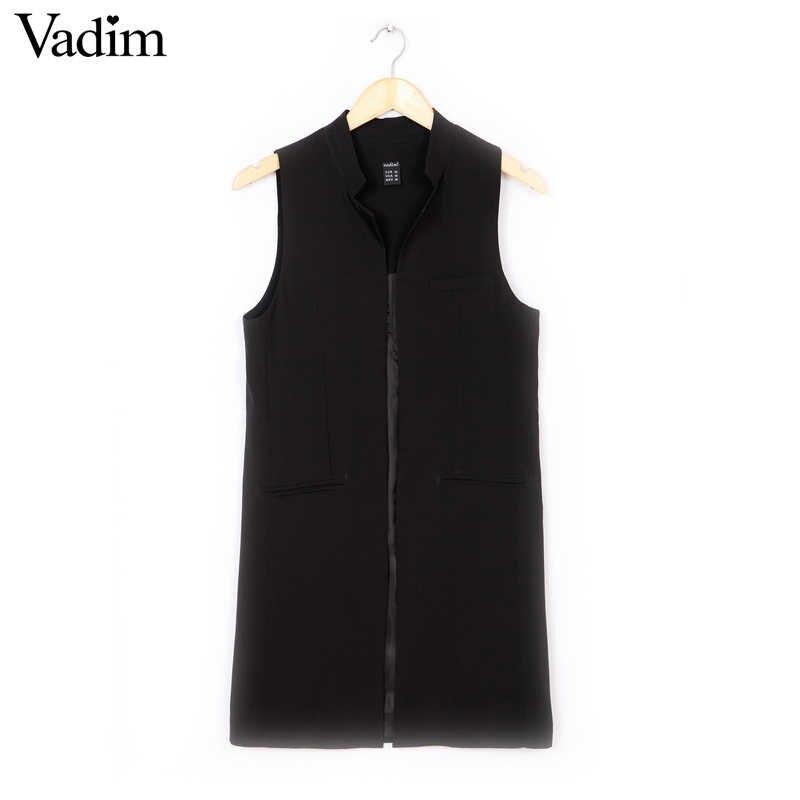Frauen weiß schwarz lange weste mantel Europen stil weste weste weste ärmellose jacke zurück split outwear beiläufige top Roupa Weibliche MJ62
