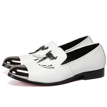 LoneLinecc New Style Skull Decoration White Scarpette Uomo Men Loafers Wedding And Party Summer Flats Moccasins