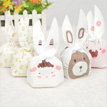 20pcs Self-adhesive Cute Rabbit Ear Cookie Bags DIY Plastic Bags for Biscuits Snack Baking Package Gift Bag Baby Party SuppliesB(China (Mainland))