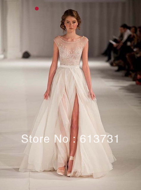 9f50ca2f8d1 2014 New Arrival Elie Saab Wedding Dresses Scoop Neck Cap Sleeves A Line  High Slit Backless Weddings   Events Gowns
