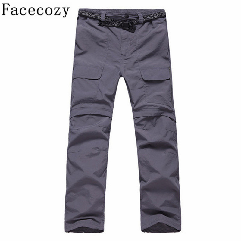 Facecozy Men Summer Quick Dry Pants Ochrona UV zdejmowana na wędrówki Spodenki Outdoor Breathable Fishing Slim Travel Trousers