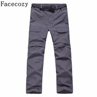 Facecozy Men Summer Quick Dry Pants UV Protection Removable To Hiking Shorts Outdoor Breathable Fishing Slim Travel Trousers