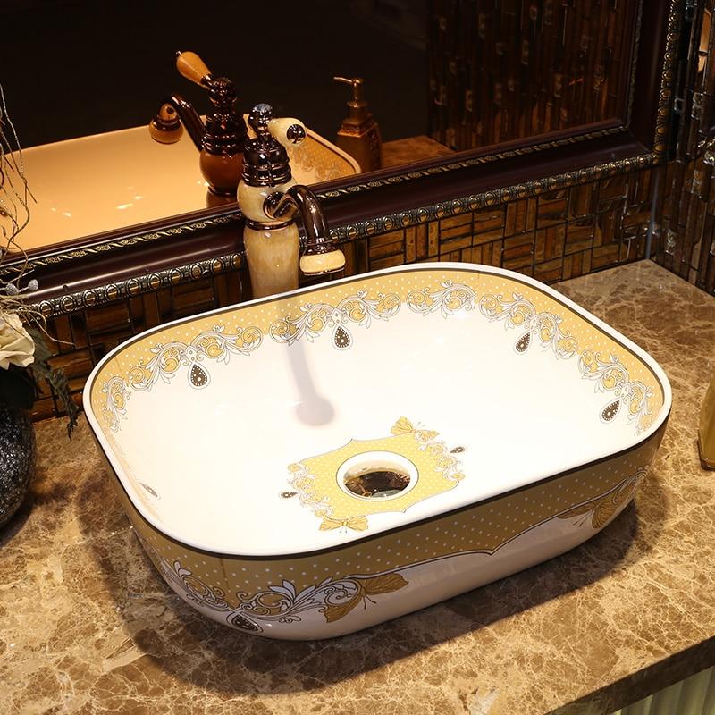 Rectangular Bathroom Ceramic Counter Top Wash Basin Cloakroom Hand Painted Vessel Sink Bathroom Sinks Ceramic Bathroom
