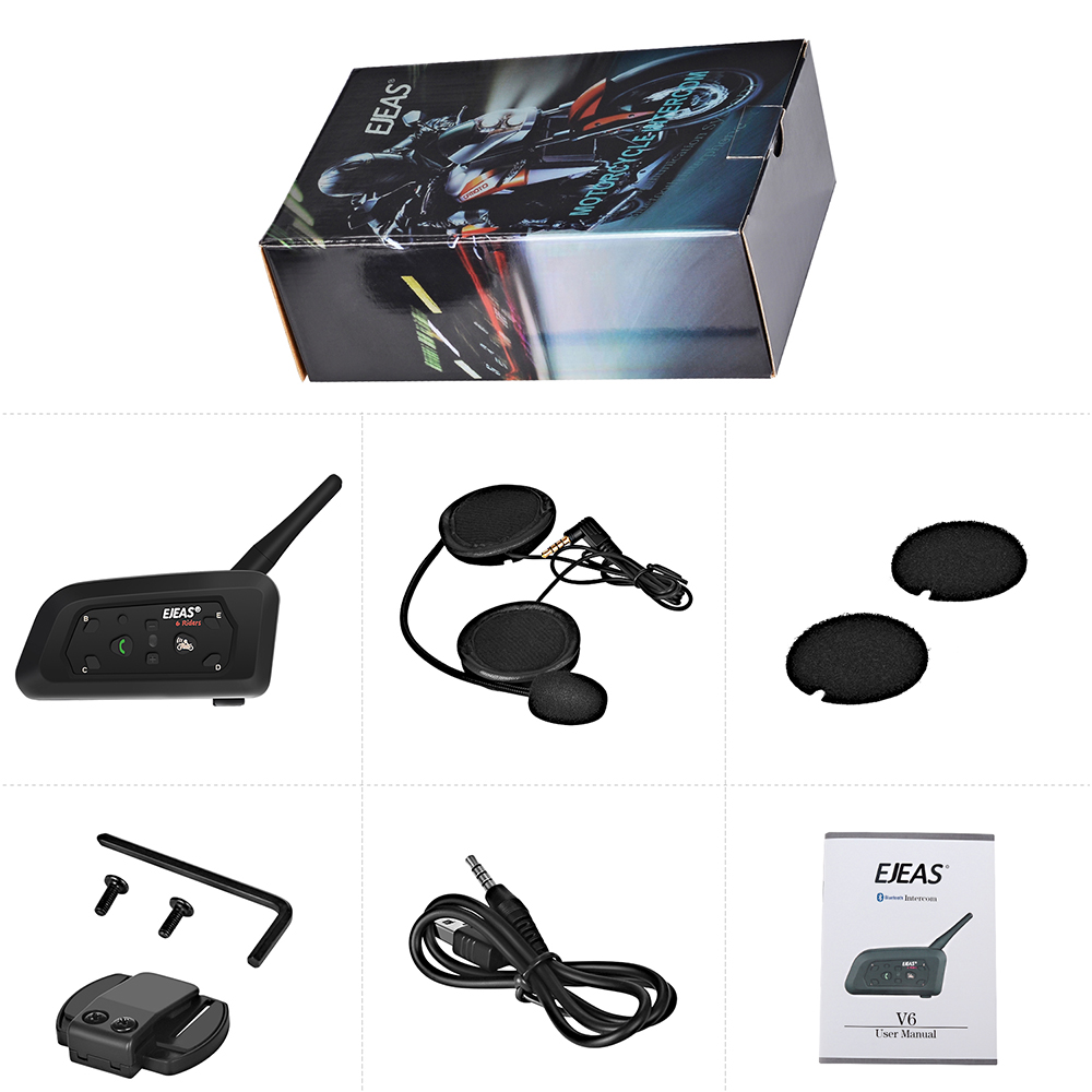 EJEAS V6 Pro interphone casque Bluetooth casque 850 mAh Intercomunicador Moto g Microphone téléphone MP3 GPS 1200 m pour 6 coureurs