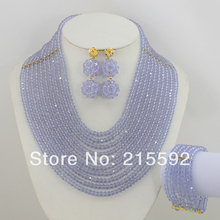 New Fashion!Marvelous Lilac Purple Crystal Beads Jewelry Set Nigerian Wedding African Beads Jewelry set Free Shipping AJS097