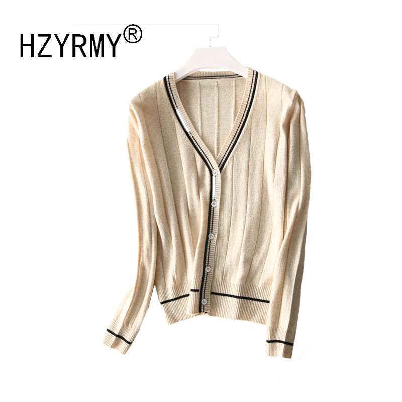 HZYRMY 2018Spring and Autumn New Women 39 s Cashmere Cardigan Fashion V Neck Loose Short Jacket Wool Knit Soft High Quality Sweater in Cardigans from Women 39 s Clothing