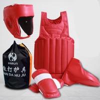 Free combat Sanda Boxing full set 4pcs protective guards sport shin guard helmet headgear groin guard chest guard protector