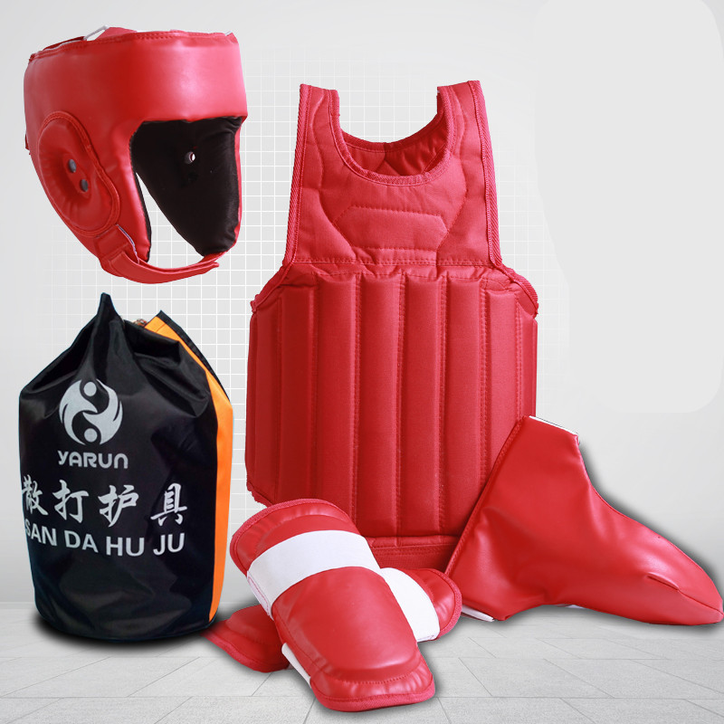 Free combat Sanda Boxing full set 4pcs protective guards sport shin guard helmet headgear groin guard chest guard protector jduanl 1pc left right thick leg support boxing pads muay thai mma legs guards protector trainer combat sanda karate training deo